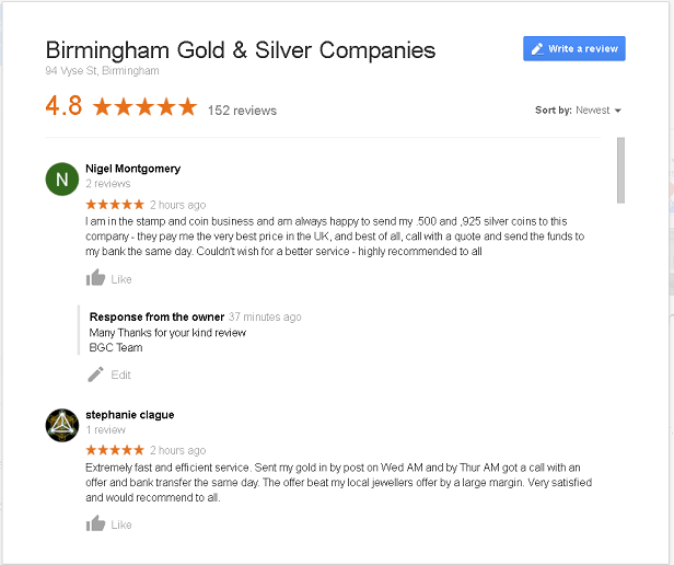 Sell Gold and Silver Latest Google Reviews